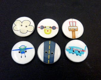 "6 Airplane Themed Buttons. Children's Handmade Buttons. Sew on.  3/4"" or 20 mm."