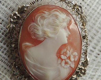 14K Pink Shell Cameo Brooch in a heart and flower frame 1930s