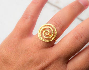 Spiral Ring Solid Gold Ring Circle Gift for Her gold band Ring fall jewelry Geometric Point Ancient Greek