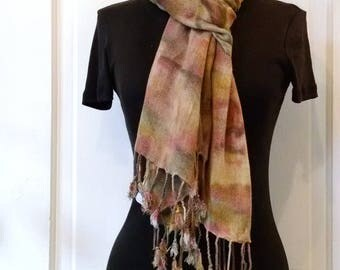 Warm Brown Earth Colors Scarf, Handpainted Scarf, Everyday Scarf, 22x74 in, Scarf with Fringe, Scarf for Men, Scarf for Women, Rayon Scarf