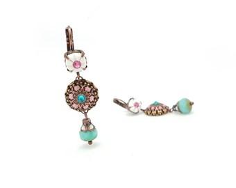 Handmade romantic earrings white, pink and blue