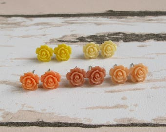 Dainty Rose Stud Earrings, Ginger Peach, Coral, Orange Flower, Yellow Rose, Floral Weddings, Bridesmaid Gift