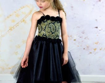 Girls Haute Couture Dress - Black and Gold Corset Dress - Pageant Gown - High Low Party Dress - Fascinator Hat - Flower Girl Dress 3t to 10