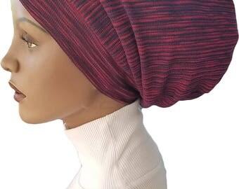 Striped Beanie Hat Huggee Locs™ Beanie Hat Cap Blue Red Stripes Slouchy Rastafari Dread Accessory Handmade