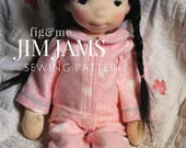 JimJams, Doll Clothing Sewing Pattern, by Fig and Me. PDF Instant Download, set of pyjamas for your waldorf doll.