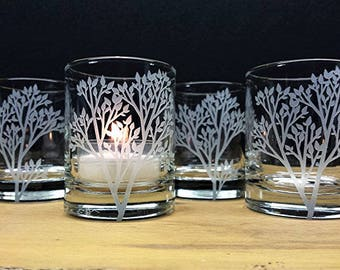 Woodland Candle Holders Set of 4 Glass Candle Holders Engraved Trees With Leaves