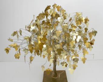 Gold Leaf Tree, Mid Century Golden Leaves, Vintage Large Metal Tree.