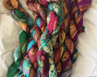 recycled silk sari border ribbon mixed multicolor metallic thread embroidery knitting crochet craft embellishment yarn 100 grams