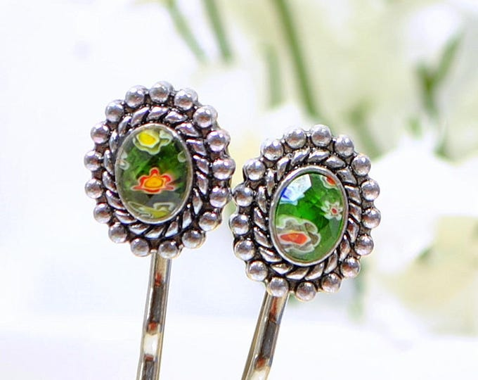 SALE - Green Bobby Pin Beaded Bobbies