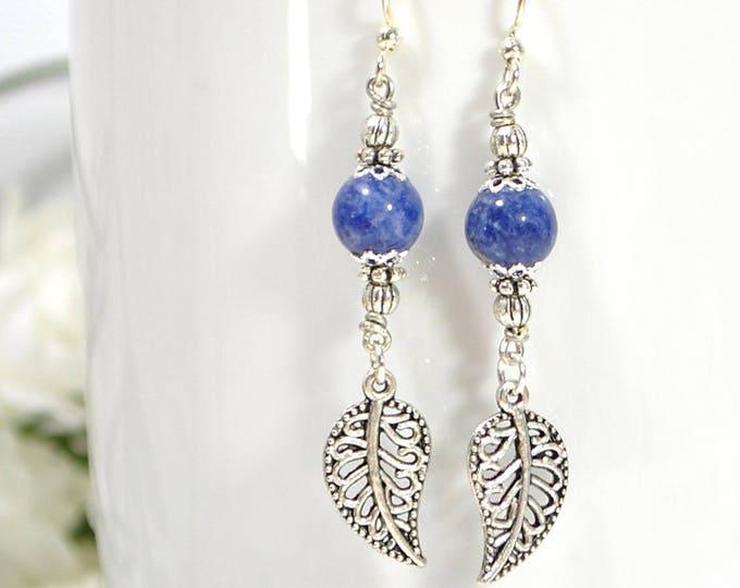 Dangle Earrings Leaf Earring Woodland Earrings Drop Earring Blue Silver Handmade Jewelry Plated Earwire Leverback or Sterling Silver