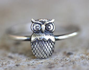 Owl Ring Owl Jewelry Sterling Silver Stacking Ring Silver Stacking Rings Nature Ring Nature Jewelry Dainty Ring Simple Silver Ring Owls