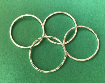 One Inch Sterling Silver Circles Hammered, Set of 4