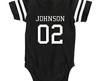 Custom Football Sport Jersey Baby Bodysuit Personalized with Name and Number