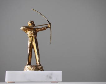 Vintage Archery Trophy, Vintage Trophies, Marksmanship Trophy, Archery Trophy Topper, Classic Vintage Decor, Gifts for Guys, Library Decor