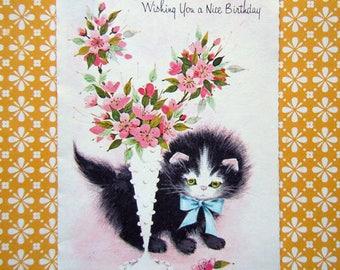 Vintage Unused Tall Slim Greeting Card - Antique Chair Lamp Kitten Cat Birthday