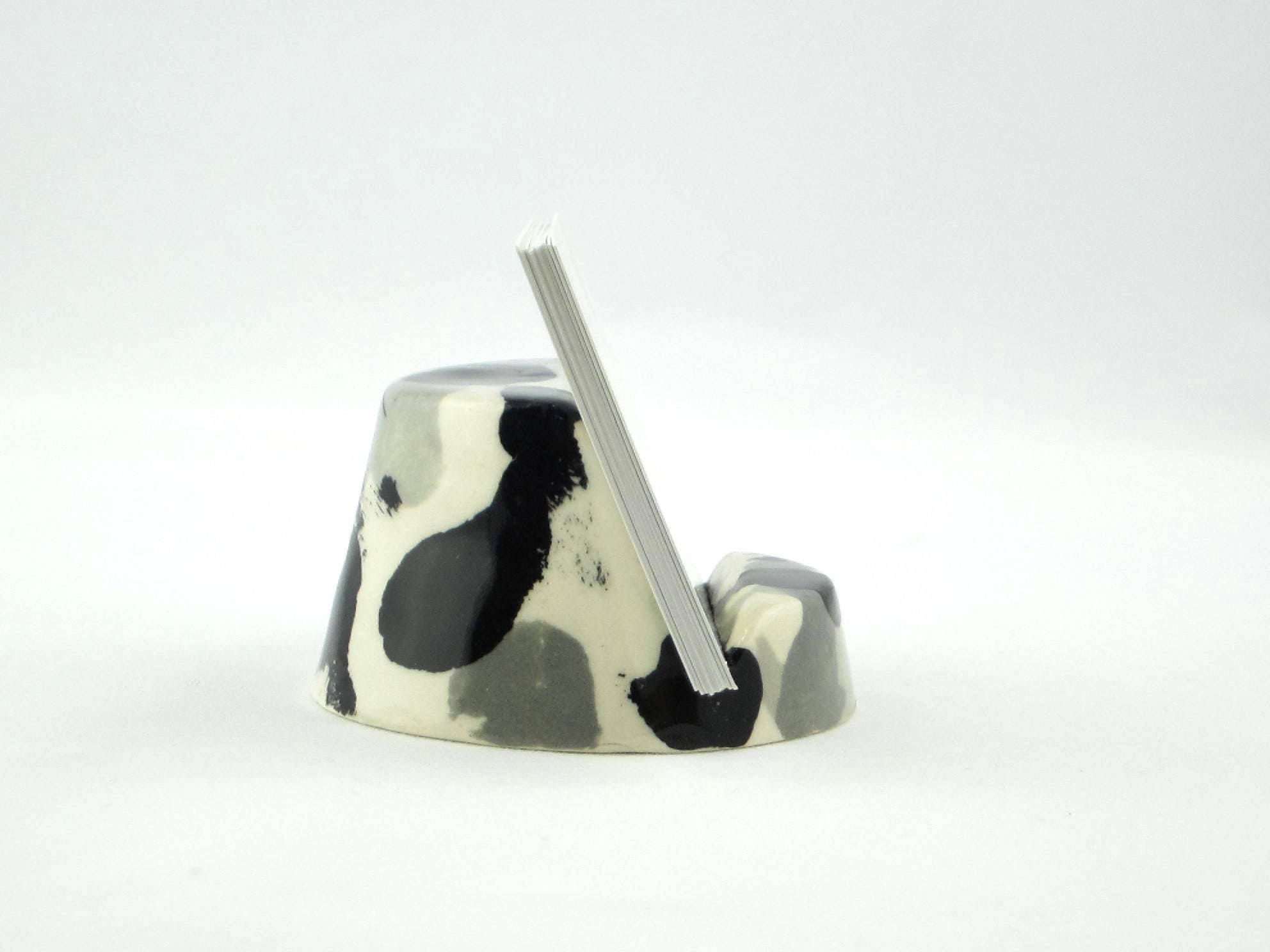 Contemporary Ceramic Business Card Holder in Black, White, and Gray ...
