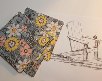 Fabric Coaster Set - Reversible -Gray and Yellow cute prints, cotton, large size