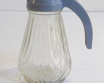 Vintage Syrup Cream or Sugar Dispenser Grey Plastic Bakelite Top Clear Glass Decorative Ribbed Bottom Retro Kitchen Pourer Coffee Tea