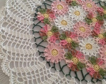 Hand Crocheted, Pastel Flower Doily, NEW, made by DEMET