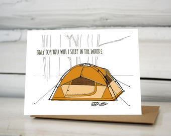 Tent Camping Valentine greeting card
