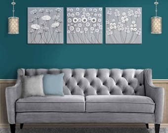 Extra Large Wall Art Textured Paintings, Set of 3 Canvas Paintings, Sculpted Flowers on Neutral Gray and White Wall Art - 62x20