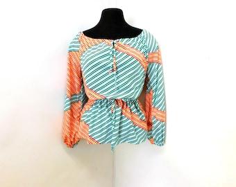 Vintage 70s Boho Hippie Long Sleeve Top Shirt Rainbow Stripes Drawstring Peplum Trendy Stylish Summer S Small M Medium