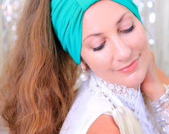Turban Headband - Women's Hair Band in Jade Green Jersey Knit - Boho Style Wide Headbands - Lots of Colors