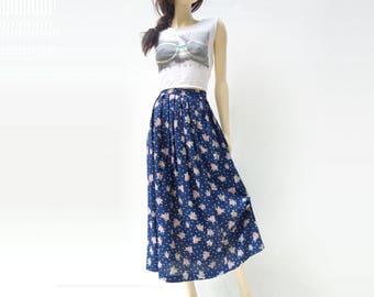 Floral Midi Skirt 90s Midi Skirt Vintage Floral Skirt Vintage 90s Skirt Blue Floral Skirt Grunge Clothing Polka Dot Skirt Large l