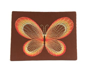 Vintage Butterfly string art ~ Colorful 70's Wall Art ~ Garden decor