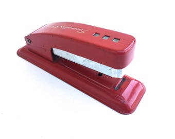 Vintage Cherry Red Swingline Cub Stapler ~Retro Office decor, 50's Made in U.S.A