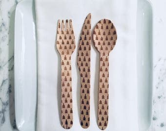 Christmas Trees Wooden Spoons Forks and Knives - Set of 15 - Kitchen Utensils, Christmas Utensils, Christmas Table