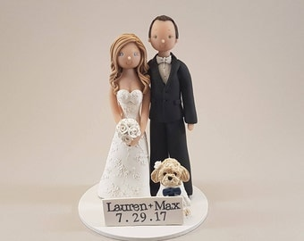 Unique Cake Toppers - Bride & Groom with a Dog Custom Made Wedding Cake Topper