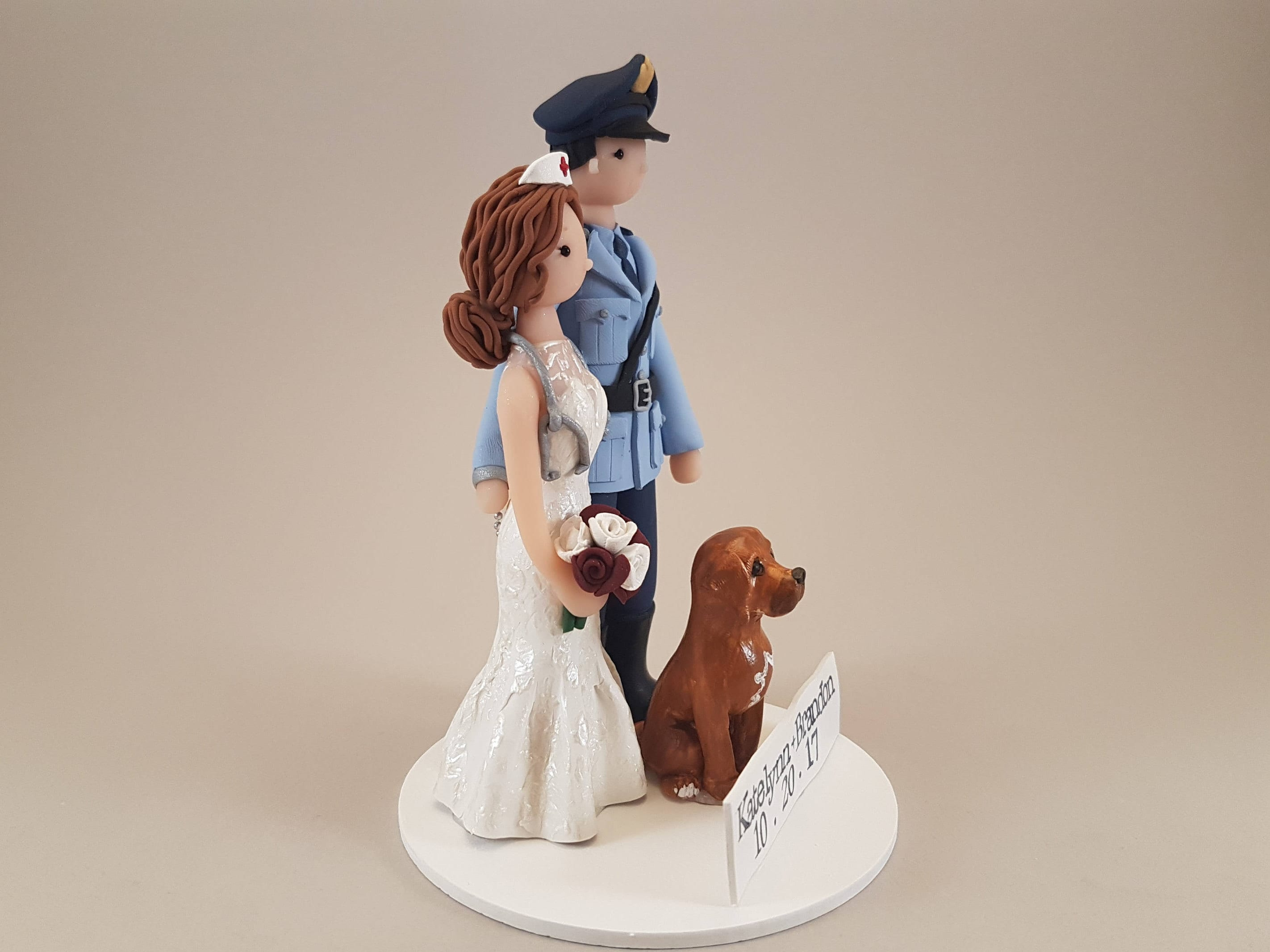 Police Officer & Nurse with a Dog Customized Wedding Cake Topper ...