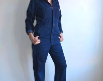 Vintage Big Mac Denim Coveralls/ Dark Wash Denim Jumpsuit /1970s 80s/ Small Medium 36