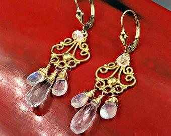 Moonstone Earrings Gold Chandelier Earring Moonstone Chandelier Earring Clear Crystal Quartz Gold Filigree Chandelier Earring Gold Wedding
