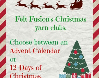 Hand dyed yarn, Advent Calendar yarn club, 12 days of Christmas yarn club. Yarn pre-order, sock yarn, DK yarn, Gift for a yarn lover, Advent