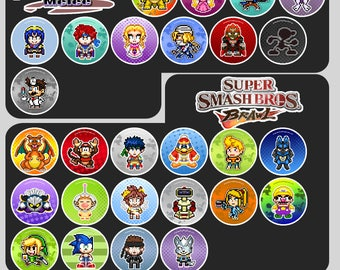 Super Smash Bros Pin Badge Buttons or Magnets - Nintendo Pixel Art 1.5""
