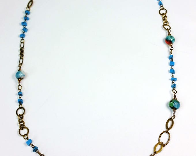Turquoise and Glass Beads on Mixed Antique Brass Chain, LONG Necklace