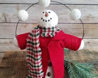 Primitive Snowman Doll Juggling George Shelf Sitter Winter Christmas Decoration
