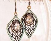 SALE 20% Off Art Nouveau Earrings - Green - Vintage Earrings - Handmade Jewelry - NOUVEAU CELADON