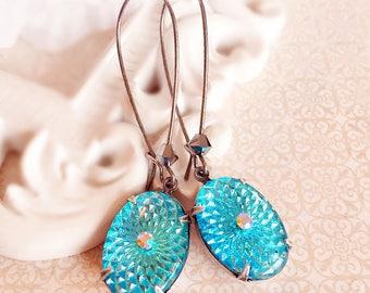 Aqua Blue Vintage Earrings - Gifts for Mom - Art Nouveau Earrings - RADIATE Ice Blue