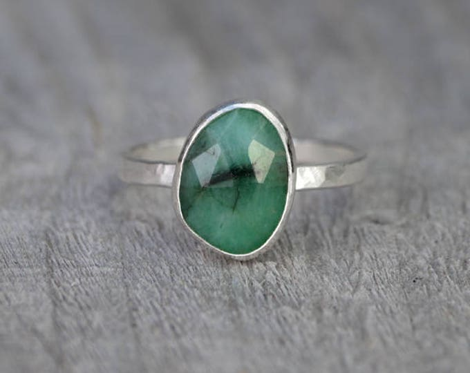 Rose Cut Emerald Ring, 1.80ct Emerald Ring, May Birthstone, Emerald Gift, Handmade In The UK