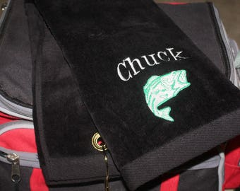 Embroidered Personalized HEMMED Sports Towel with Grommet- Bass FISH; Fisherman; Fishing; Lake