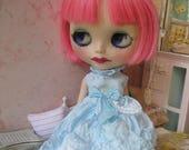 BLYTHE DRESS - Vintage Styled Shabby Elegance Tattered/Layered/Hand-Dyed Silk Dress  - Blue