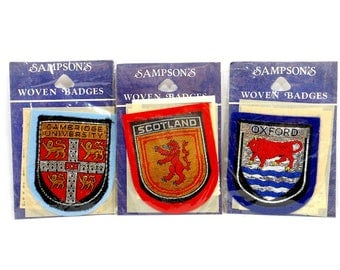 1979 - '81 Vintage Patches, 3 SAMPSON'S Woven Badges, Appliques Scotland, Cambridge, Oxford Coat of Arms, Sewing Supplies, Red Navy Silver