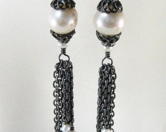 Pearls and chain earrings with antiqued sterling chain tassel - weddings, little black dress earrings, long earrings, black and white