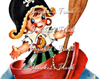 Girl Pirate Clipart - Pirate Girl Retro - Girl Pirate Boat - Digital Download Vintage Image - Scrapbook Collage Large JPG and PNG Clipart