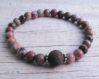 diffuser beaded bracelet. natural lava rock bracelet. gemstone diffuser jewelry. stretch bracelet. handcrafted jewelry.