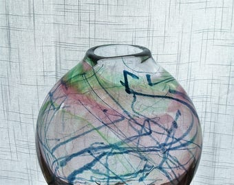 Hand Blown Glass Murrine Flat Sided Vase with Green, Blue and Purple Watercolor Design