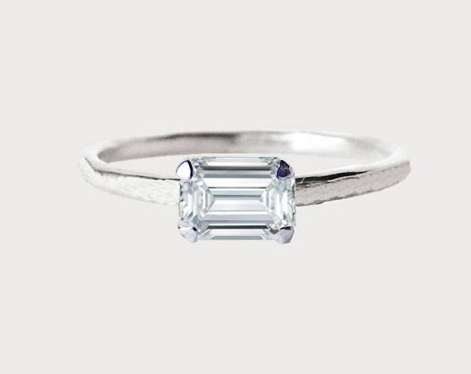 Forever Yours_ 14K White Gold Emerald Diamond Engagement Ring